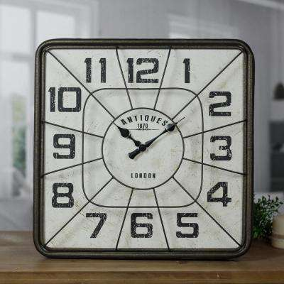 Metal Square Wall Clock with Metal Guard