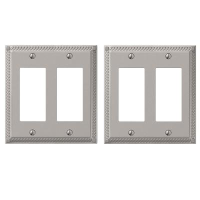 Georgian 2 Gang Rocker Metal Wall Plate - Satin Nickel (2-Pack)