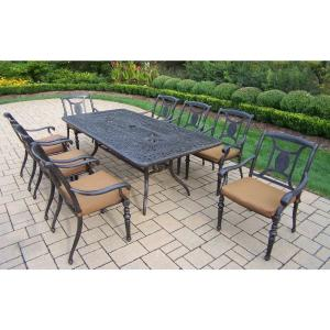 Belmont 9-Piece Rectangular Aluminum Patio Dining Set with Sunbrella Canvas Teak Cushions by