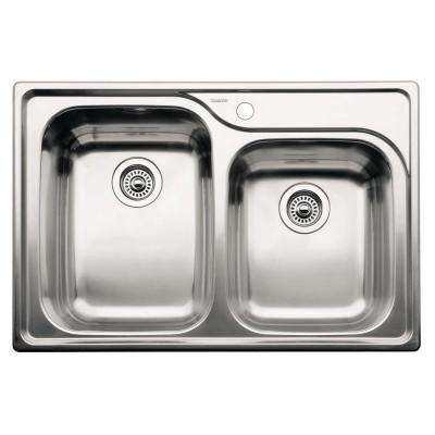 Executive Chef Self-Rimming Cast Iron 33 in. 4-Hole Double Bowl Kitchen Sink w/ InSinkErator Evolution Supreme Disposal