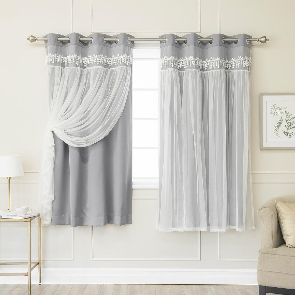 Best Home Fashion Grey 63 in. L Elis Lace Overlay Blackout Curtain Panel (2-Pack)