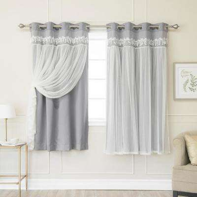 Grey 63 in. L Elis Lace Overlay Blackout Curtain Panel (2-Pack)
