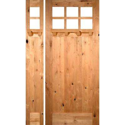 56 in. x 96 in. Craftsman Knotty Alder 1 PNL 6 Lt DS Unfinished Right-Hand Inswing Prehung Front Door/Left Sidelite
