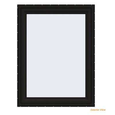 36 in. x 48 in. V-4500 Series Black FiniShield Vinyl Right-Handed Casement Window with Fiberglass Mesh Screen