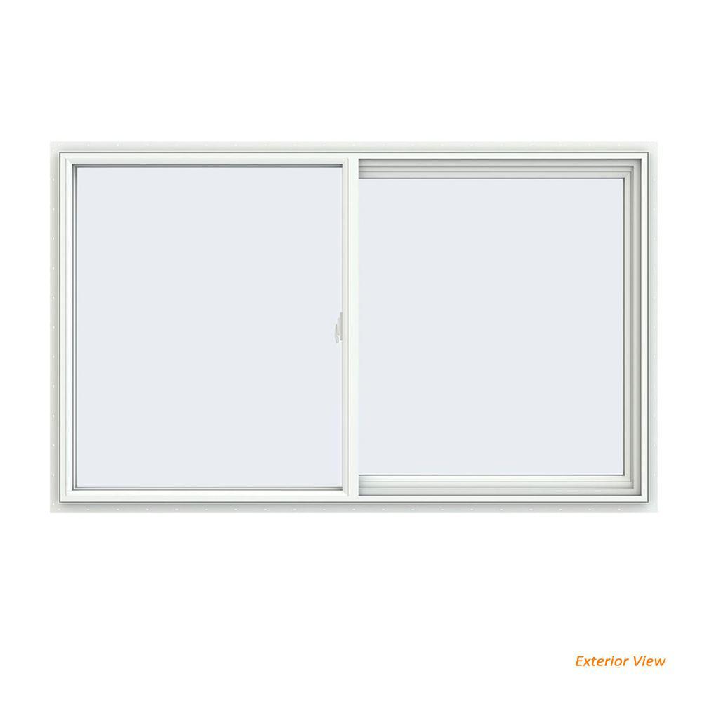 JELD-WEN 59.5 in. x 35.5 in. V-2500 Series White Vinyl Right-Handed Sliding Window with Fiberglass Mesh Screen