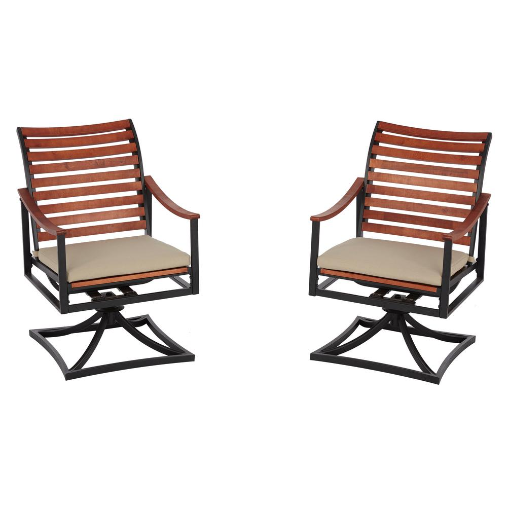 Hampton Bay Plaza Mayor Swivel Rocking Wood Outdoor Dining Chair with Cream Cushion (2-Pack)