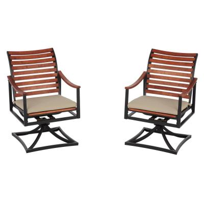 Plaza Mayor Swivel Rocking Wood Outdoor Dining Chair with Cream Cushion (2-Pack)