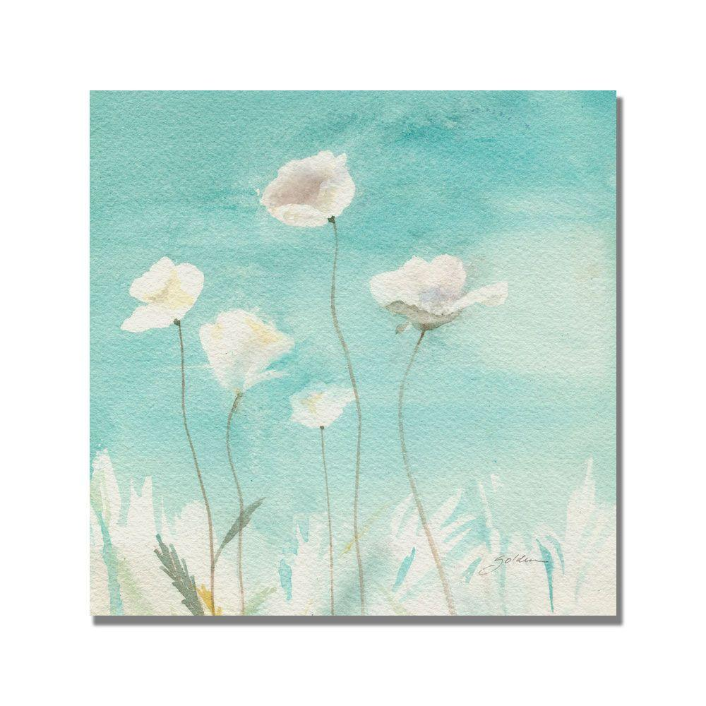 18 in. x 18 in. White Poppies Canvas Art
