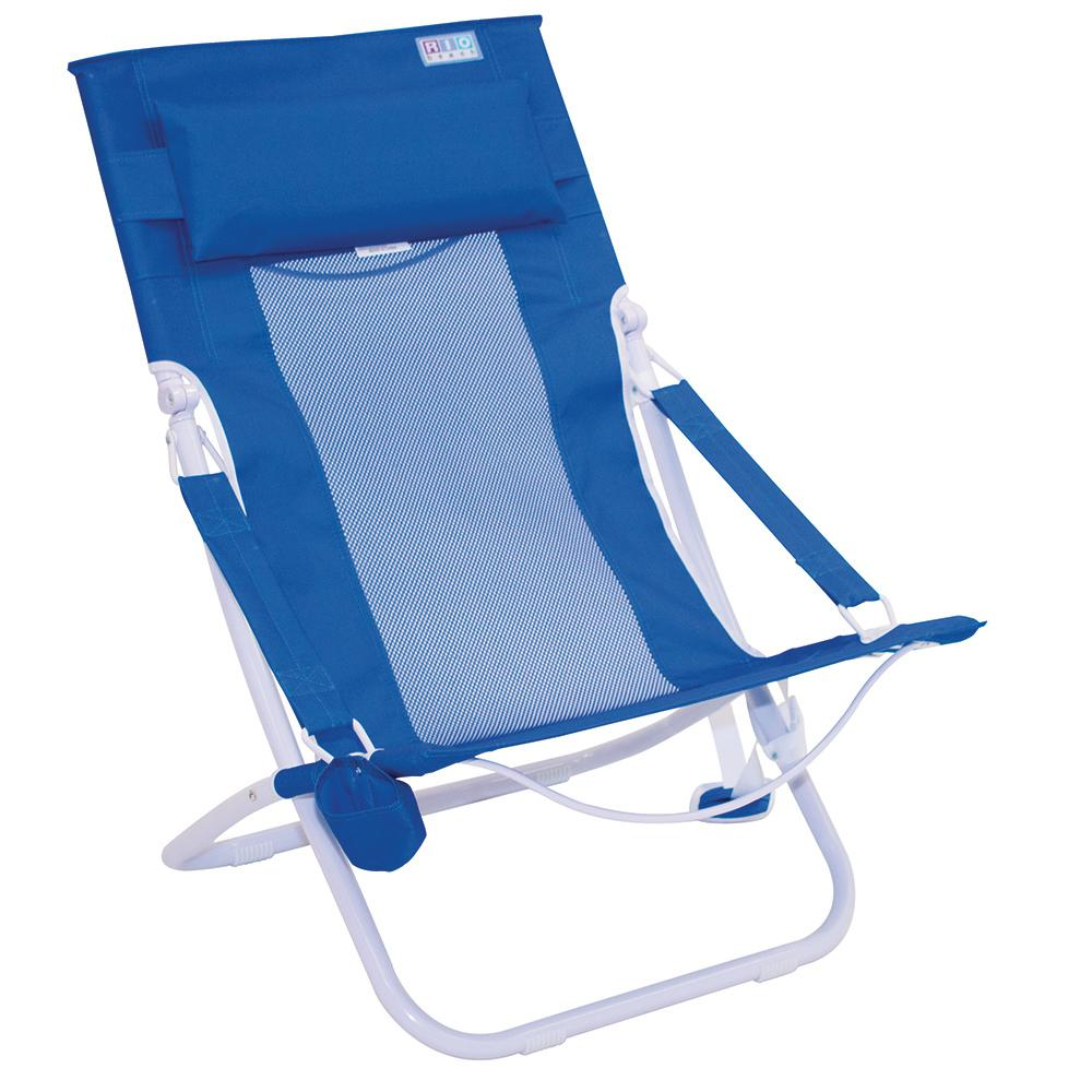 Rio Beach Metal Folding Hammock Beach Chair In Royal Blue
