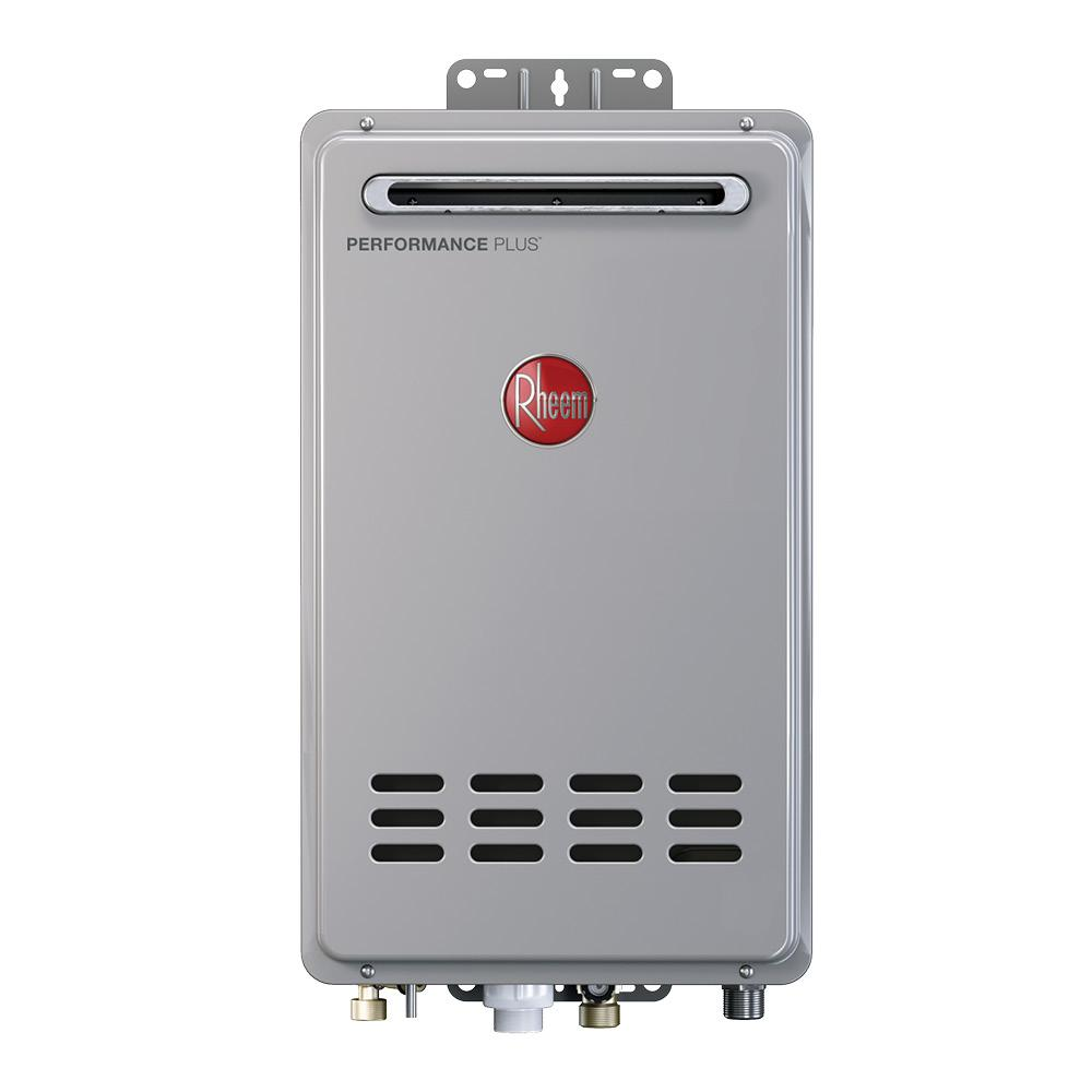 Rheem 8 4 gpm liquid propane gas mid efficiency outdoor for 3 bathroom tankless water heater