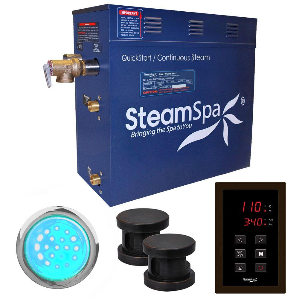 Indulgence 10.5kW QuickStart Steam Bath Generator Package in Polished Oil Rubbed