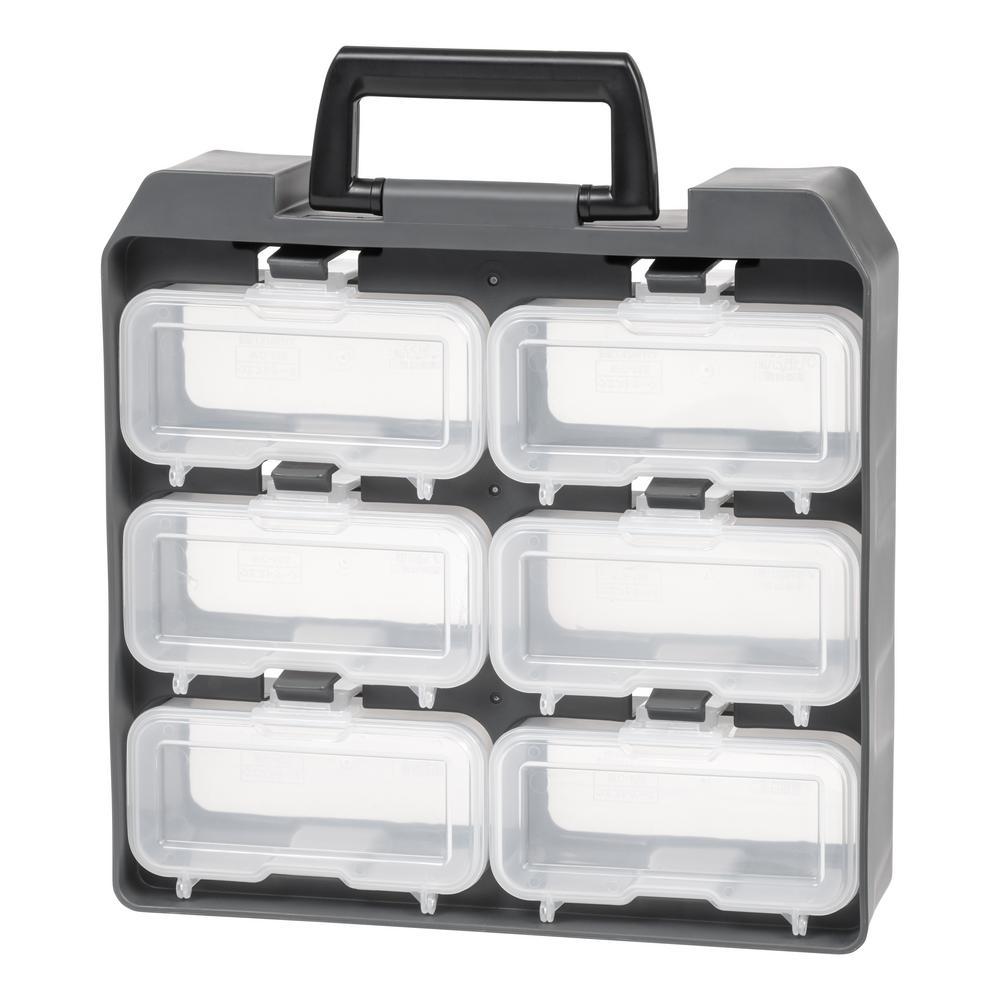 6 Compartment Storage Bin Small Parts Organizer In Gray