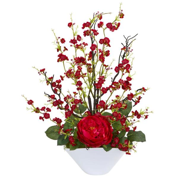 Nearly Natural Indoor Rose and Cherry Blossom Artificial Arrangement