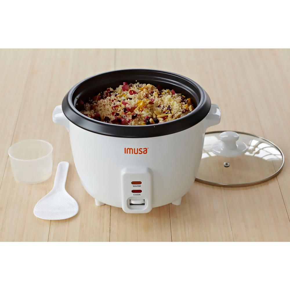 Electric Nonstick Rice Cooker, 5-Cup (Uncooked) 10-Cup (Cooked), White The IMUSA Nonstick Rice and Multipurpose Cooker is perfect for today's busy lifestyles. Make the perfect rice dish in only minutes with the touch of an on-off switch, and a warming function that will permit you to reheat your foods. The tempered glass lid locks in flavor and will allow you to monitor your rice as your cooking. Cleaning is easy with the removable nonstick coated pot which prevents your rice and other foods from sticking. Make your favorite rice dishes, vegetables, oatmeal and more. Color: White.