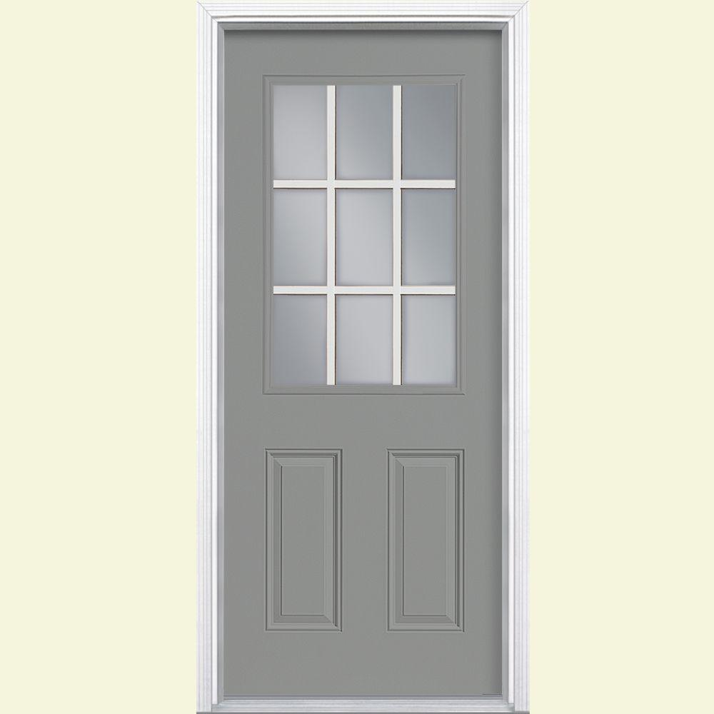Masonite 36 in. x 80 in. 9 Lite Right-Hand Inswing Painted Steel Prehung Front Door with Brickmold