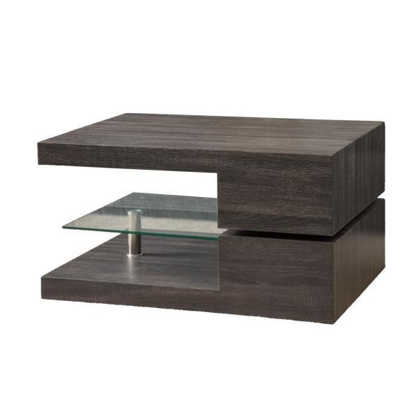 Noble House Oak Black Wood And Glass Rotating Top Coffee Table With Shelf 6421 The Home Depot