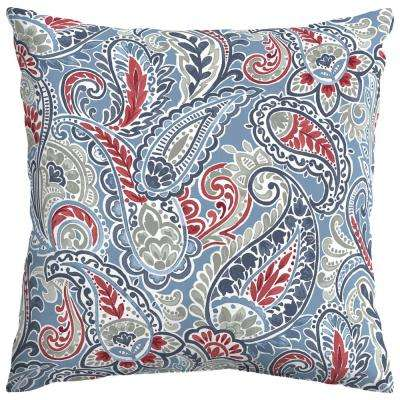 Denim Paisley Square Outdoor Throw Pillow