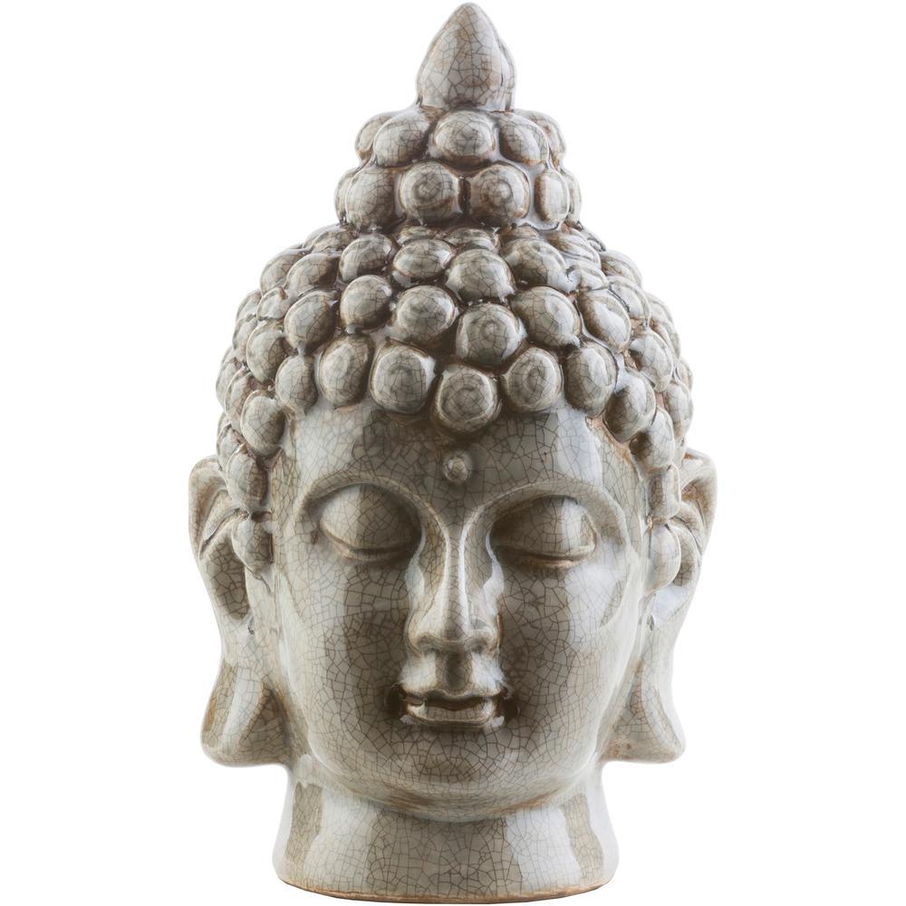 Hansh 7.9 in. x 12.6 in. Decorative Buddha Bust in Medium Gray