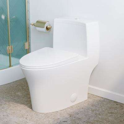 Bastille 1-Piece 0.8/1.28 GPF Dual Flush Elongated Toilet in Glossy White Seat Included