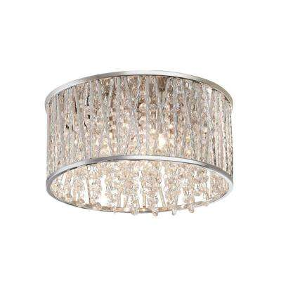 11.5 in. 3-Light Polished Chrome and Crystal Drum Shape Flushmount