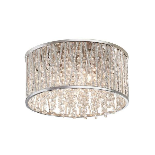 Saynsberry 11.5 in. 3-Light Polished Chrome and Crystal Drum Shape Flush Mount