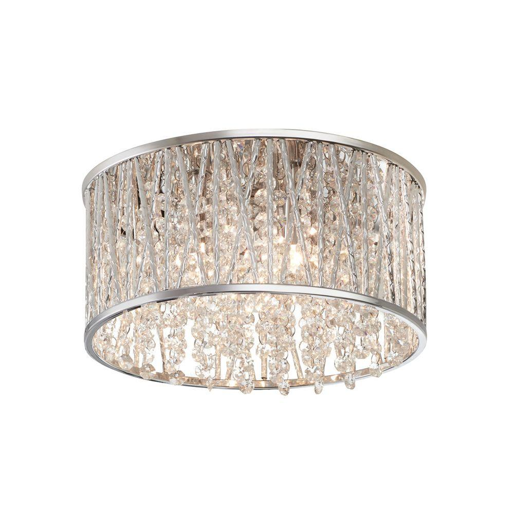 Home Decorators Collection 11.5 In. 3 Light Polished Chrome And Crystal  Drum Shape Flushmount