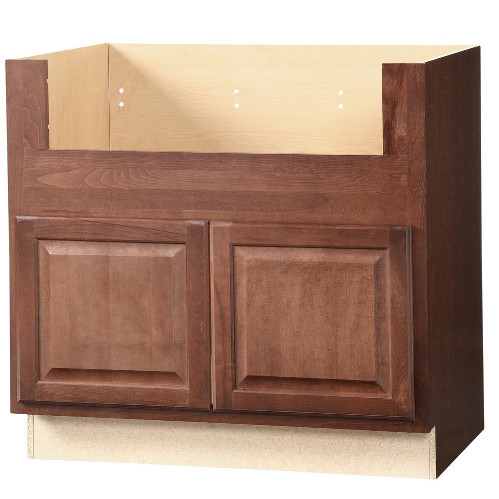 Hampton Assembled 36x34.5x24 in. Farmhouse Apron-Front Sink Base Kitchen Cabinet in Cognac