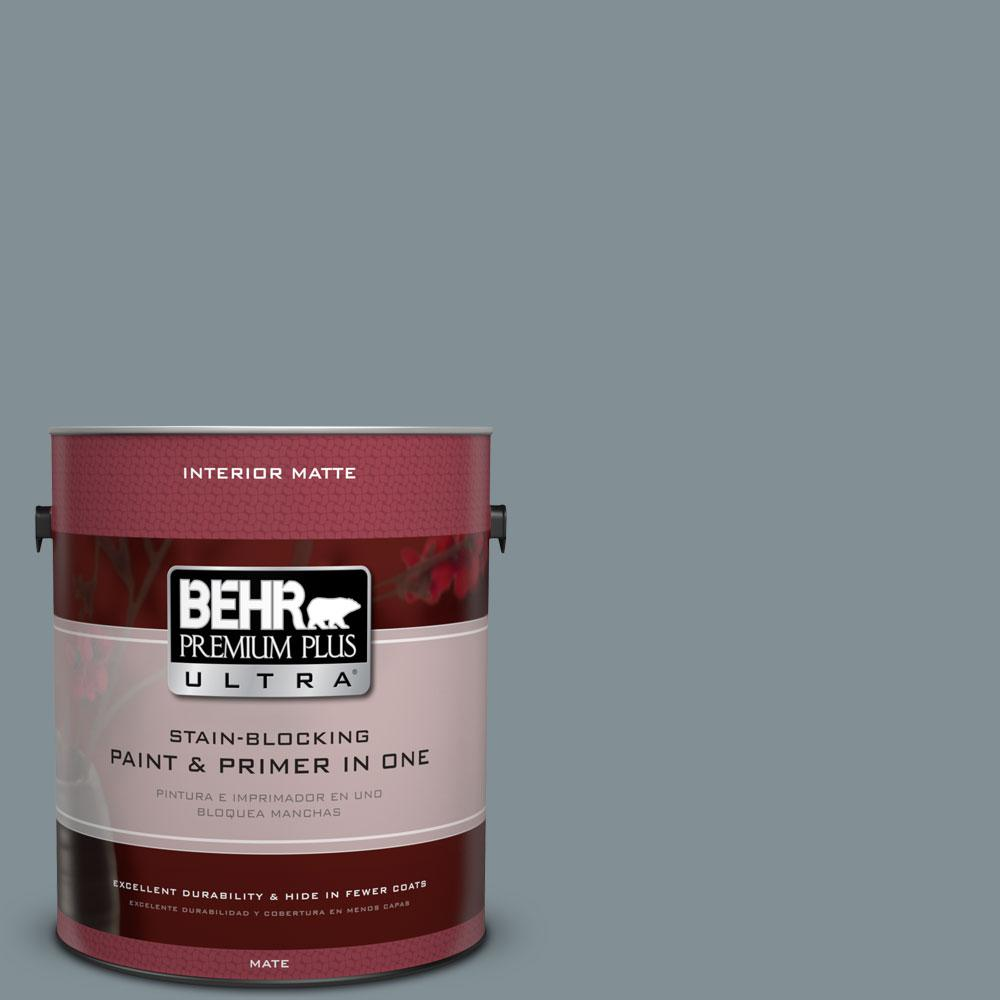 1 gal. #740F-4 Dark Storm Cloud Matte Interior Paint and Primer
