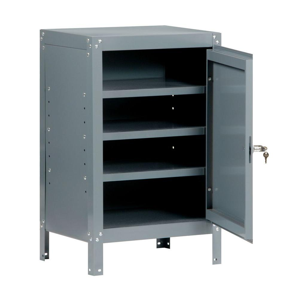 Edsal 34 in. H x 21 in. W x 16 in. D 3-Shelf Steel Freestanding Base Storage Cabinet in Gray