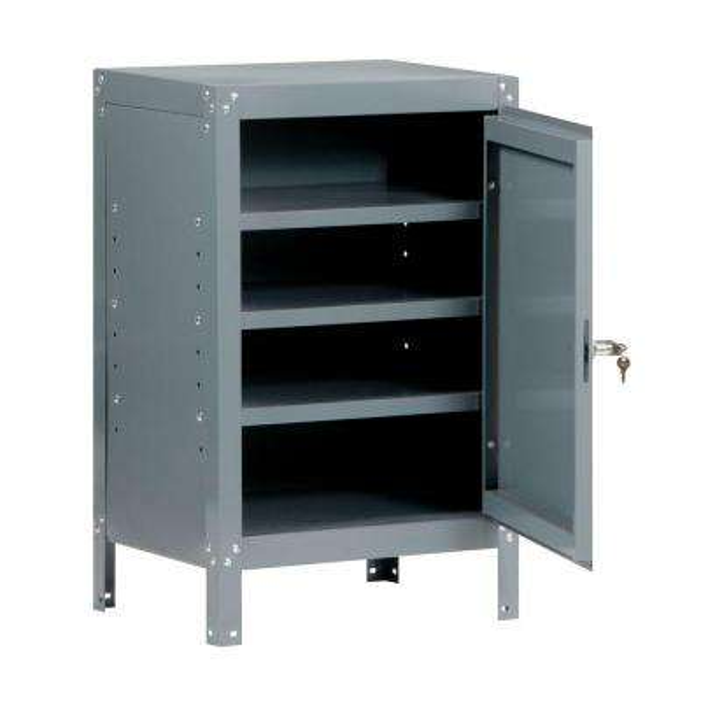 34 in. H x 21 in. W x 15.5 in. D 3-Shelf Steel Freestanding Base Storage Cabinet in Gray