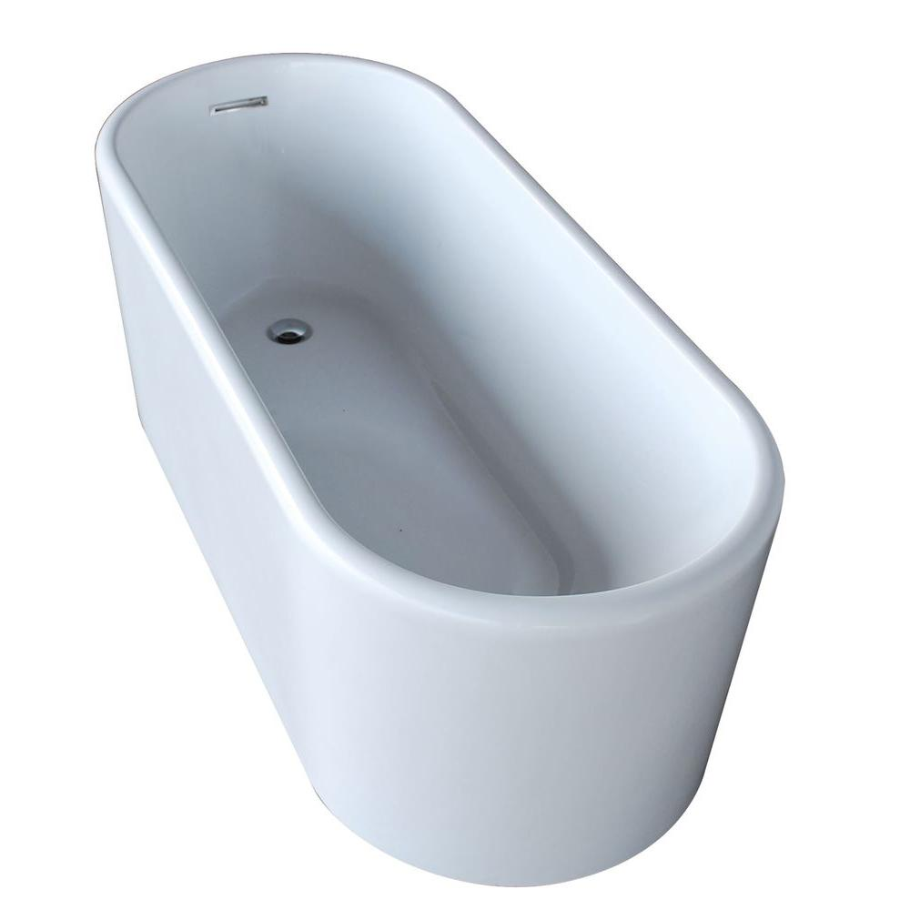 Century 5.6 ft. Acrylic Reversible Drain Freestanding Bathtub in Glossy White