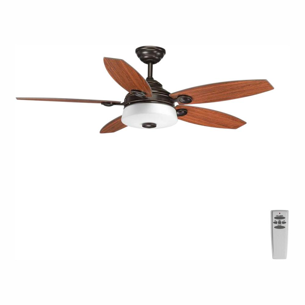 Progress Lighting Graceful Collection 54 in. LED Indoor Antique Bronze Rustic Ceiling Fan with Light Kit and Remote