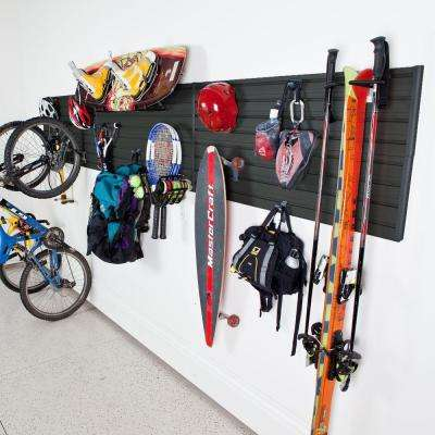 Modular Sports Wall Storage Panel Set With Accessories In Black 17 Piece