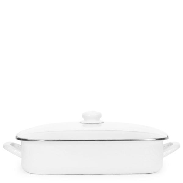 Solid White 10.5 qt. Enamelware Roasting Pan with Lid