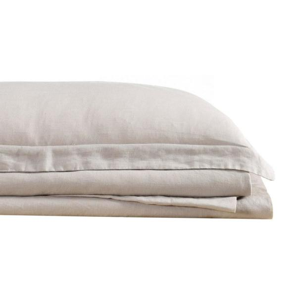 Flax Linen 4-Piece Natural Solid 300 Thread Count King Sheet Set