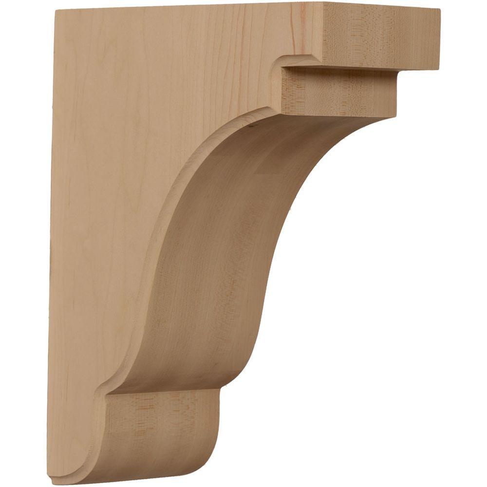 Ekena Millwork 3-1/2 in. x 7-1/4 in. x 9-1/2 in. Unfinished Red Oak Bedford Corbel