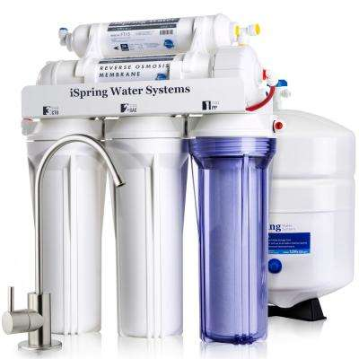 RCC7 5-Stage Under Sink Reverse Osmosis Drinking Water Filtration System with Superior Quality Filters, 75 GPD