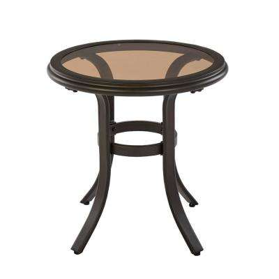 Riverbrook Espresso Brown Round Steel Glass Top Outdoor Patio Side Table