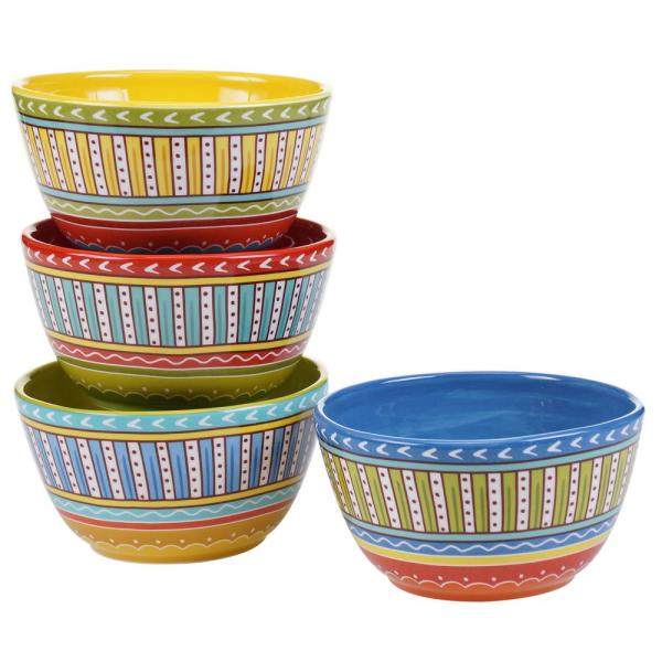 Valencia Assorted Colors Ice Cream and Cereal Bowl (Set of 4)