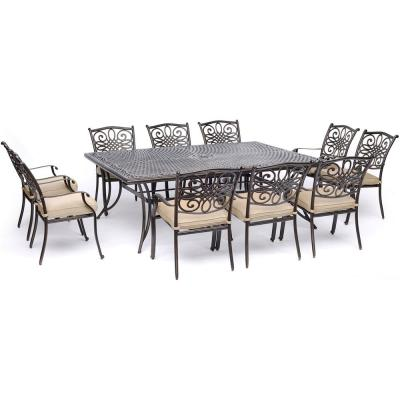 Traditions 11-Piece Aluminum Outdoor Dining Set with 10 Dining Chairs and Tan Cushions
