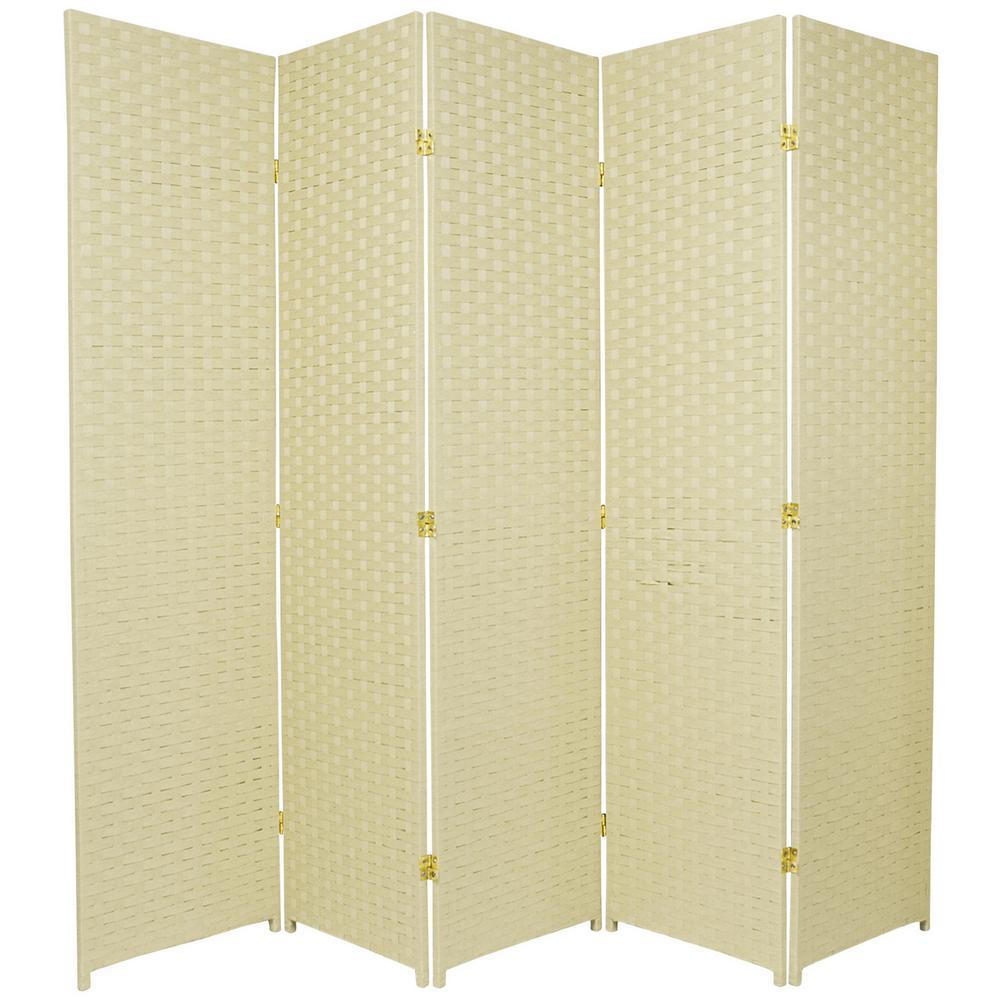 Oriental Furniture 6 ft. Cream 5-Panel Room Divider SSFIBER-5P-CRM