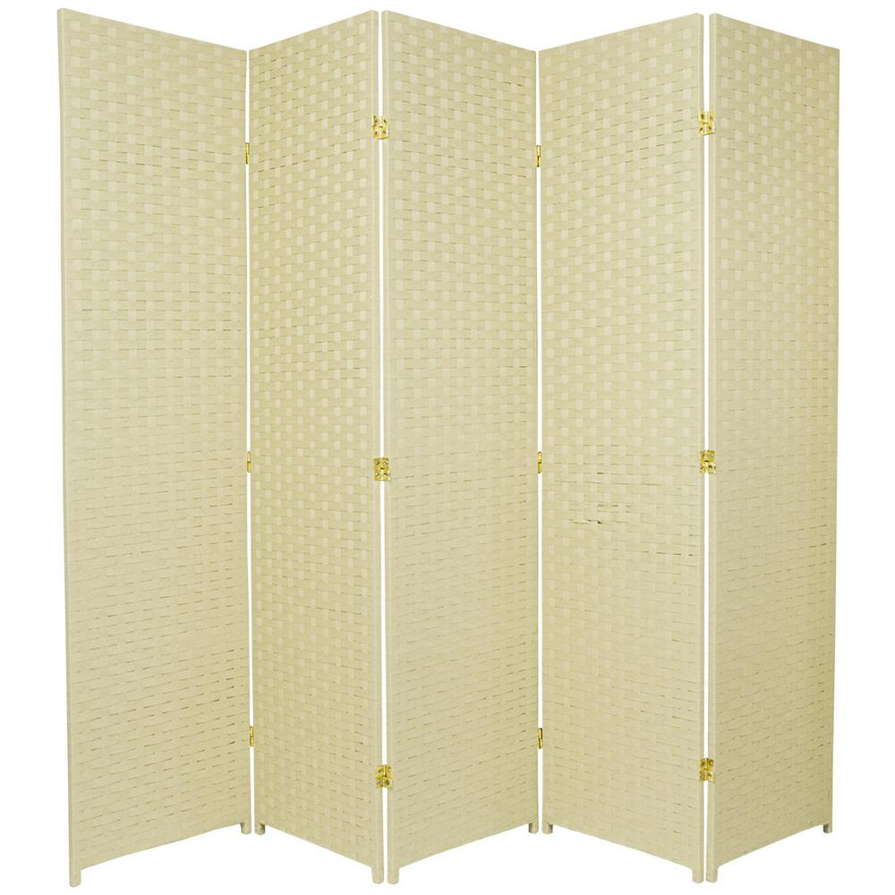 Oriental Unlimited 6 ft. Cream (Ivory) 5-Panel Room Divider
