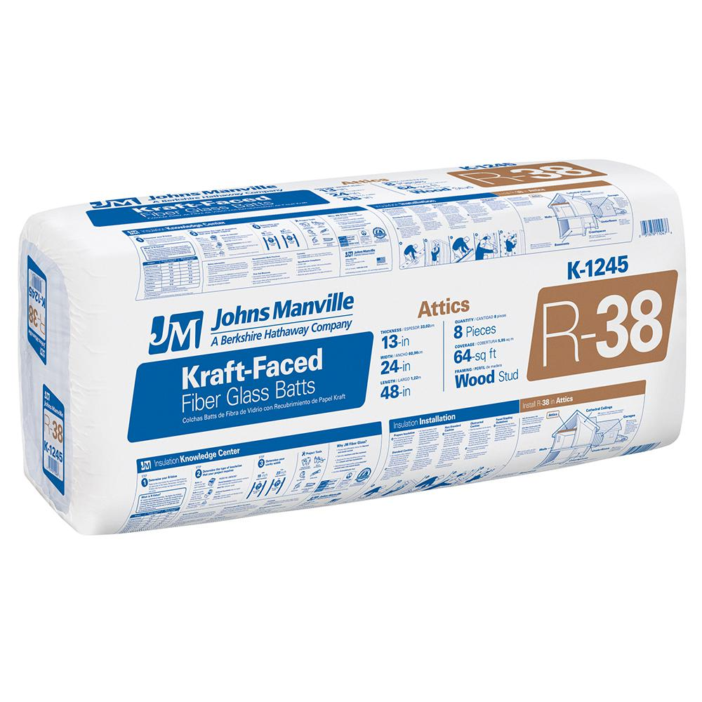 R-38 Kraft Faced Fiberglass Insulation Batt 24 in. x 4 ft.