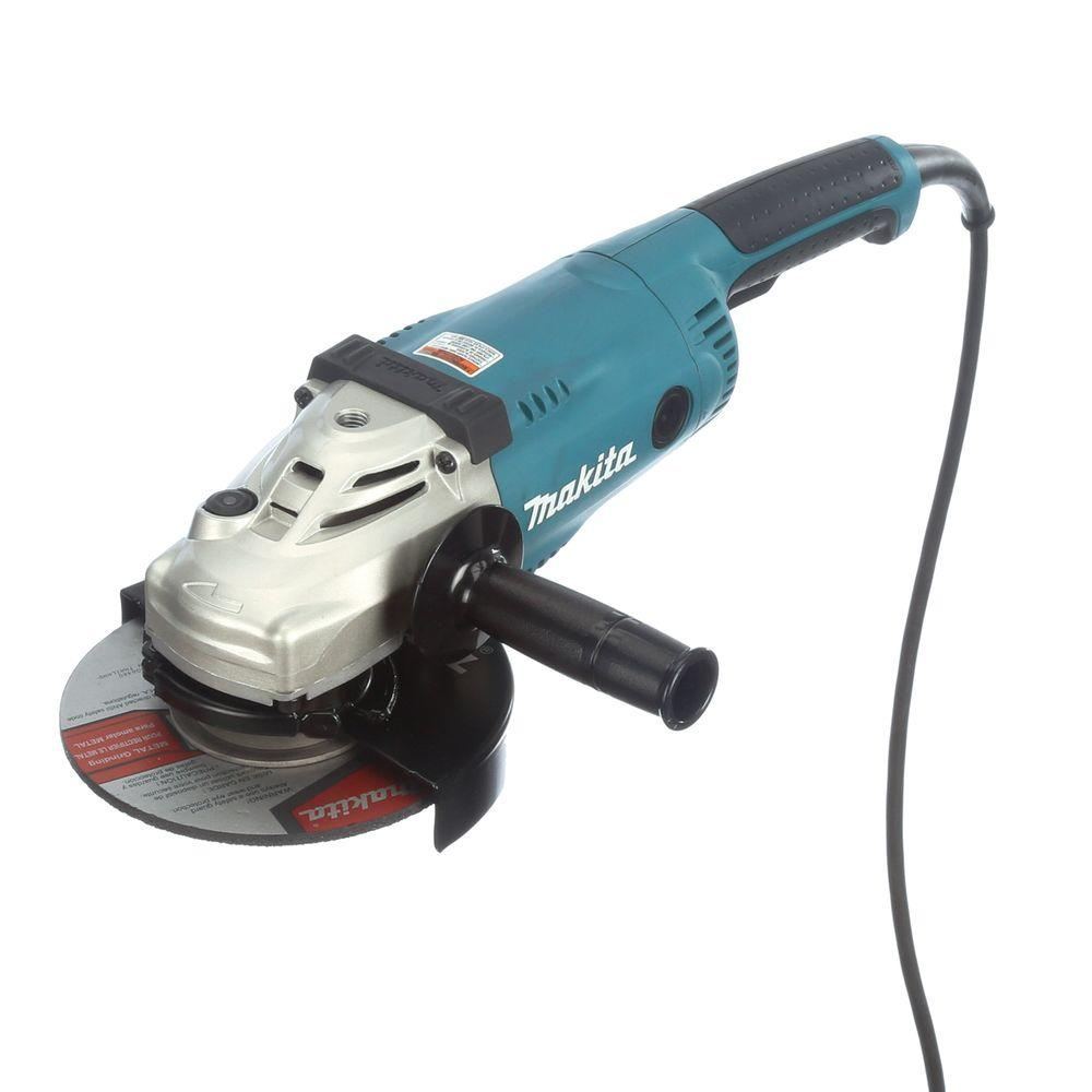 Makita 15 Amp 7 in. Corded Angle Grinder with Grinding wheel, Side on