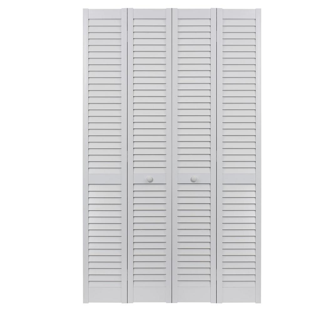Pinecroft 48 in. x 80 in. Seabrooke Louver/Louver White Hollow Core ...