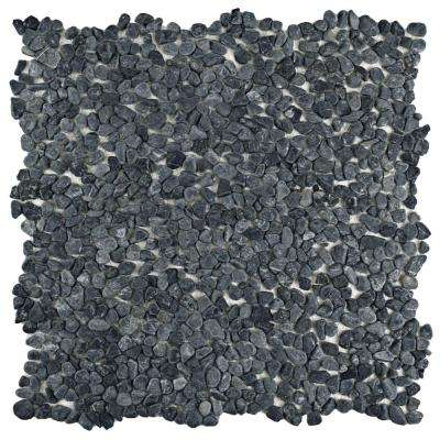 Pebblini Graphite 12-1/4 in. x 12-1/4 in. x 7 mm Pebble Stone Mosaic Tile