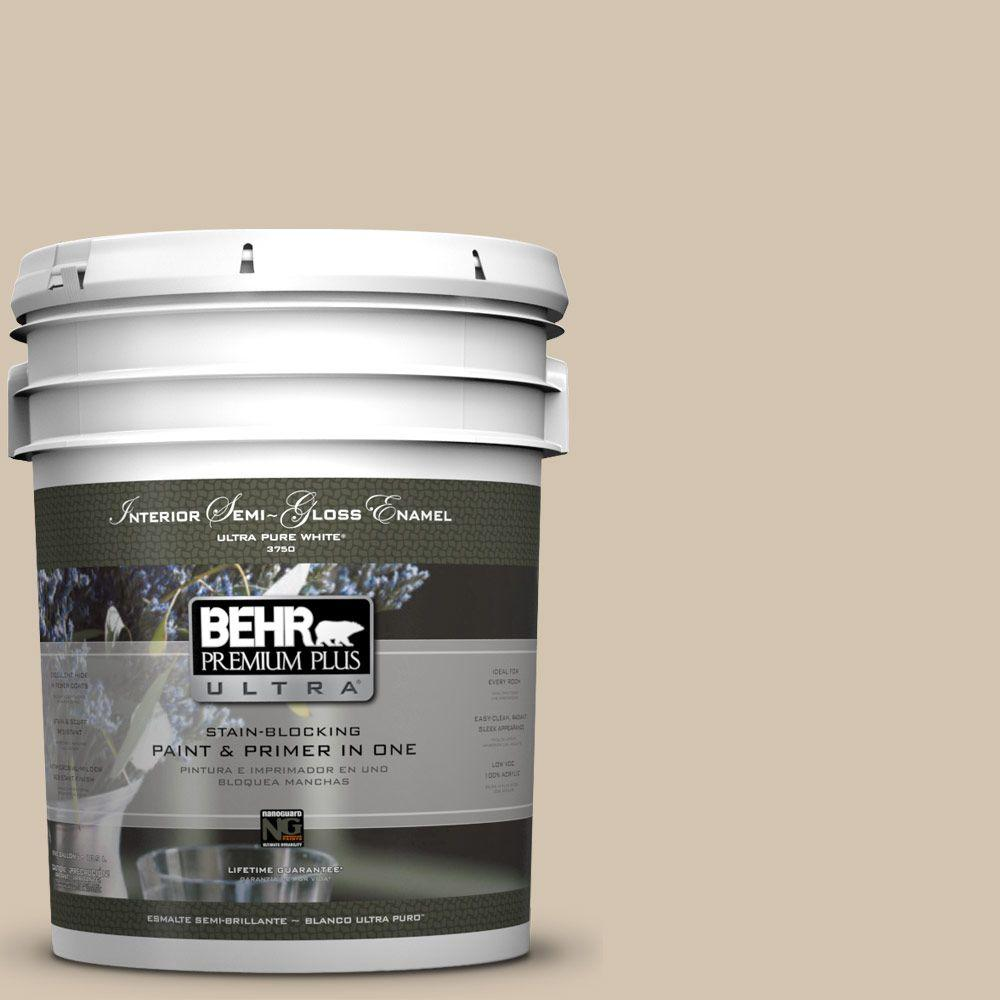 BEHR Premium Plus Ultra 5-gal. #N300-3 Casual Khaki Semi-Gloss Enamel Interior Paint
