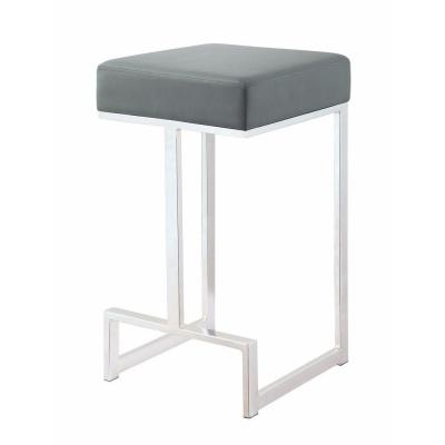 25 in. Chrome and Gray Metal Counter Height Stool