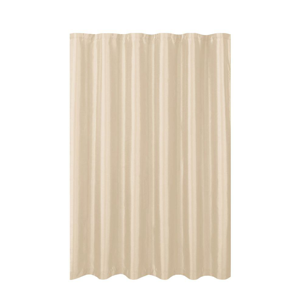 Creative Home Ideas Jane Faux Silk 70 in. W x 72 in. L Shower Curtain with Metal Roller Hooks in Beige