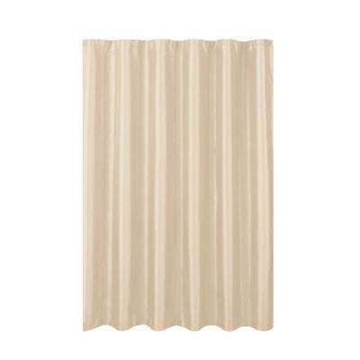 Jane Faux Silk 70 in. W x 72 in. L Shower Curtain with Metal Roller Hooks in Beige